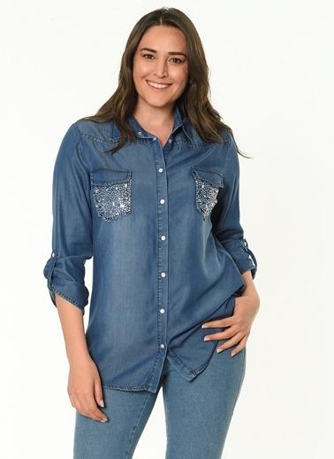 Selen Denim Gömlek Bluz Mavi